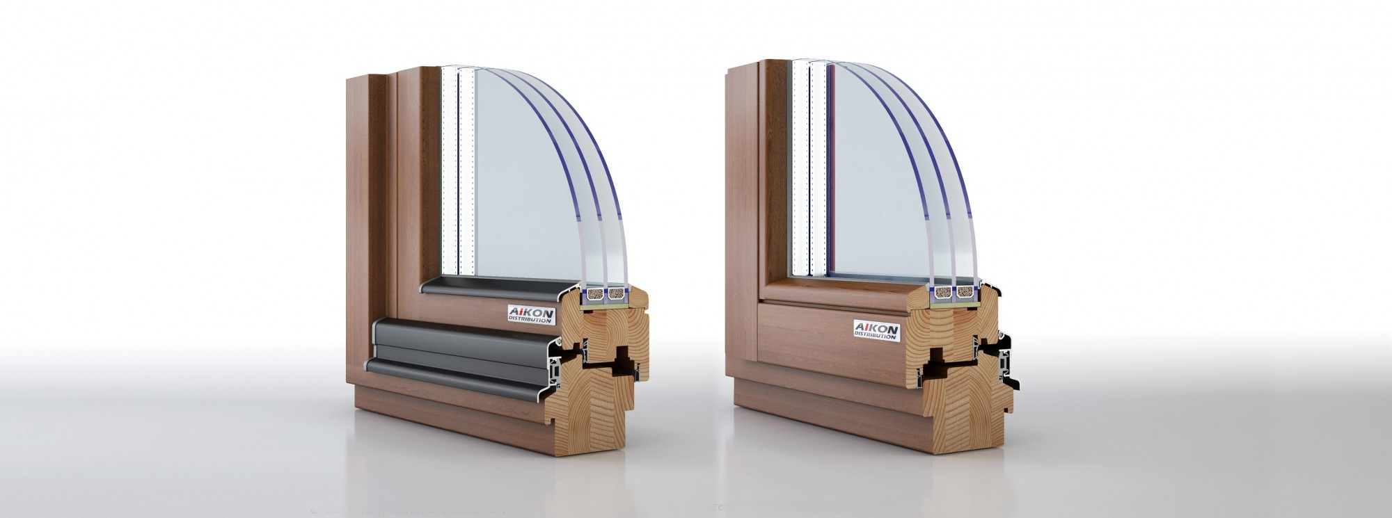 Triple-glazed timber windows for passive houses