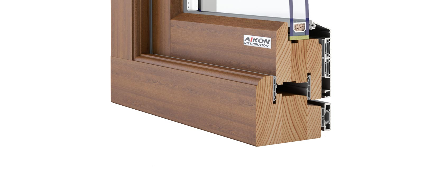 Aluclad timber outward opening flush casement