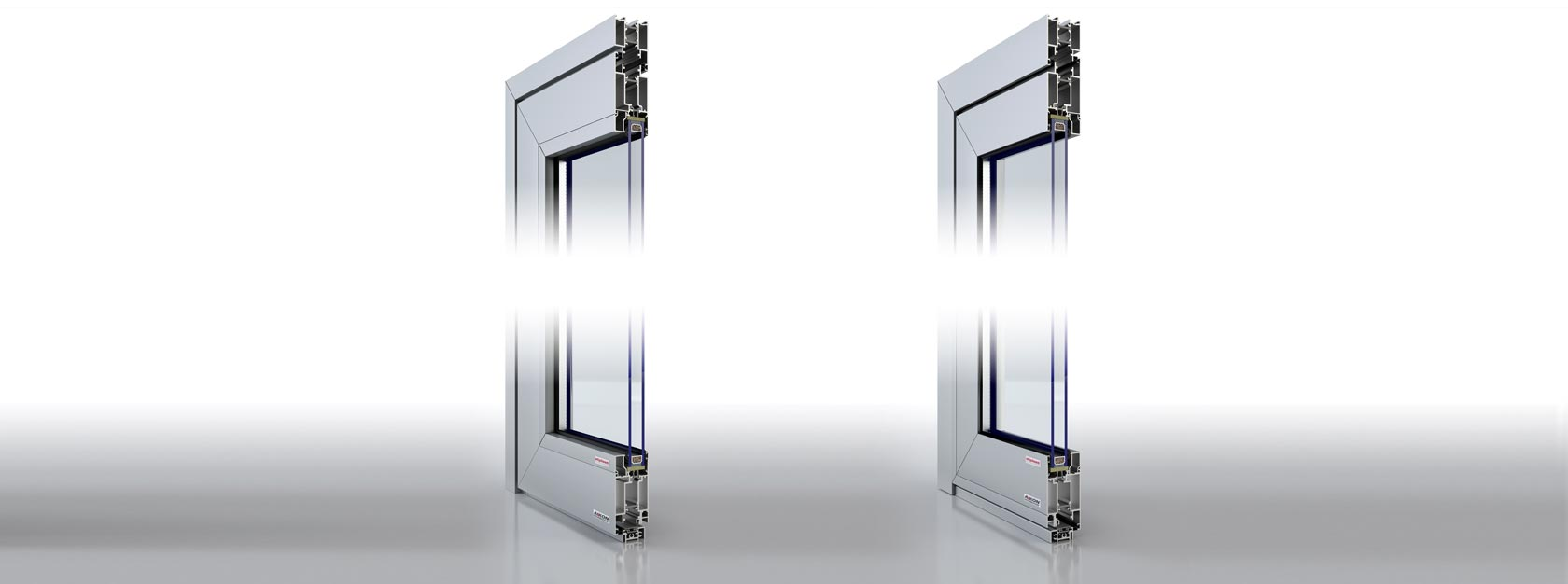 Aluminum door with single or double glass panes