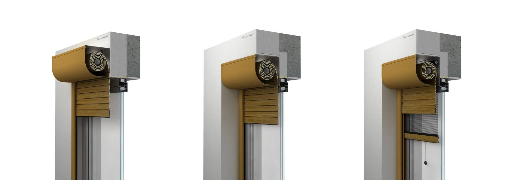 Front-mounted Aluprof roller shutters