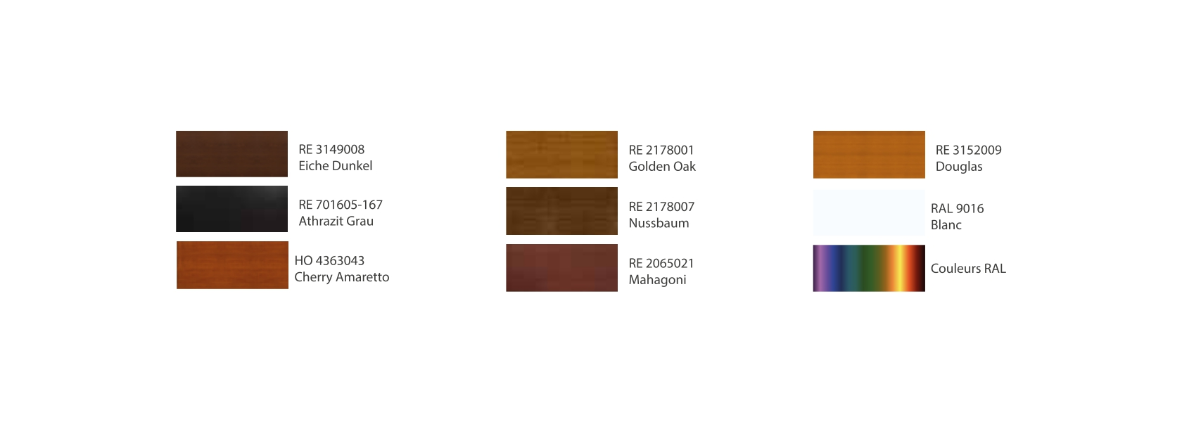 Different colours of upvc door panels